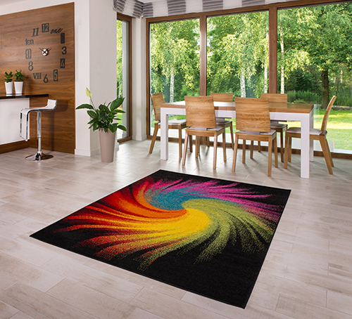 teppich kurzflor hochwertig bunt schwarz gelb gr n rosa blau 80 120 140 160 200 ebay. Black Bedroom Furniture Sets. Home Design Ideas