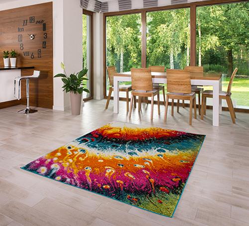 teppich kurzflor hochwertig bunt t rkis orange rosa wei 80 120 140 160 200 ebay. Black Bedroom Furniture Sets. Home Design Ideas