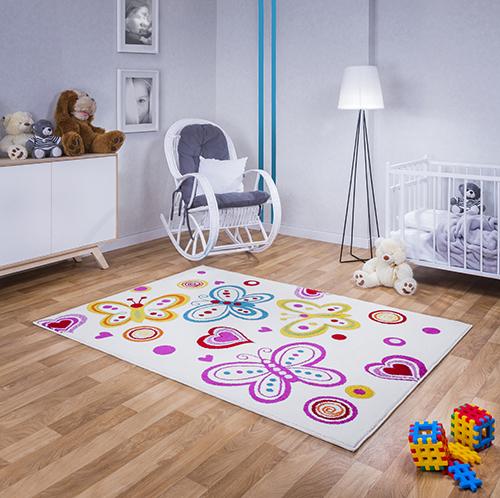 kinder teppich kurzflor gemustert kinderzimmer m dchen 4806 wei ebay. Black Bedroom Furniture Sets. Home Design Ideas